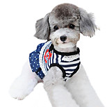 Cat / Dog Harness / Leash Adjustable/Retractable / Vest / Stripe / Nautical Blue Sponge