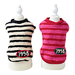 Dog Hoodie Red / White Winter Stripe / Letter & Number Fashion