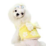 Hunde Overall Blau / Rosa / Gelb Winter Blumen / Pflanzen / Schleife Modisch