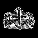 Classical Individual Men's Black Cubic Zirconia Cross Stainless Steel Ring(Black)(1Pc)