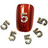 10pcs NO.5 Shape Nail Art Rhinestones 2016 Nail Art Decorations Nails Tips 3d Metal  DIY Accessory NC267
