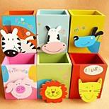 Cute Cartoon Animals Porta Desktop Fashion Creative Multi-functional Wooden Pen Container(Random Color)