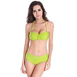 Bikini Set Fixed Cup Scrunch Top Fully Lined Removable Neck Halter Fancy Women Swimwear Latest Design M.L.XL DM075
