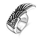 Fashion Individual No Decorative Stone Men's Stoving Varnish Singel Wing Stainless Steel Ring(Black)(1Pc)
