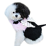 Dog Harness / Leash Bowknot / Keep Warm / Polka dots Black / Pink Textile