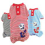Dog Shirt / T-Shirt Red / Black / Blue Spring/Fall Stripe Fashion