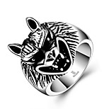 Fashion Brand Jewelry Vintage Mens Wolf Head Silver Plated Rings 316L Stainless Steel Punk Biker Male Ring Ringen Bague Anello