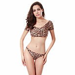 Leopard Allover Print Lycra Fabric Puckering Shoulders Swimwear Micro Thong Sexy Brazilian Bikini Set M.L.XL.XXL DM062