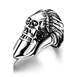 Generous Individual No Decorative Stone Men's Stoving Varnish Pirate Skull Stainless Steel Ring(Black)(1Pc)
