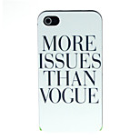 letras negras en caso duro del patrón blanco para iPhone 4 / 4s