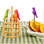 Arrival Birdcage Fruit Fork Plastic Bird Shaped Fruit Forks Cutlery Set Cartoon(Random Color)
