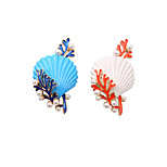 Fashion Womne Cute Pearl Set Enamel Shell and Coral Brooch(pack with gift bag)