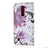Purple Flowers Magnetic PU Leather wallet Flip Stand Case cover for LG K7 LG Tribute 5