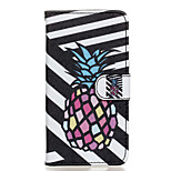 Black and White Pineapple Pattern PU Leather Full Body Case with Stand for Wiko Rainbow Jam 4G
