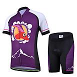 CHEJI Boy Girl Bicycle Cycling Bike Children Suit Jersey + Shorts For Kids Purple Antelope