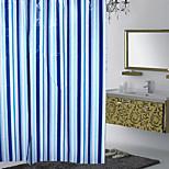 Classic Blue Bars Waterproof Mildew Shower Curtain PEVA Material 180X180