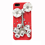 Flowers With Drill Pattern Hard Back Case for iPhone5/5S (Assorted Colors)