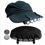 1 Pack Camping Fishing Clip Hat, Cap Light Lamp, Emergency Light Headlamp Headlight 5 Leds