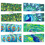 1sheets New Nail Art Sexy Peacock Floral Water Tattoos DIY Tips Nails Decorations of Nail Art Stickers Manicure Tools