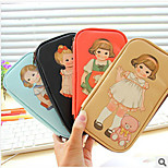 Retro Cute Doll Pen Multifunctional Leather Pencil Bag Stationery Bag(Style random)
