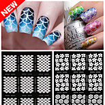 2016 New  Nail Vinyls Irregular Grid Pattern Stamping Nail Art Tips Manicure Stencil Nail Hollow Stickers Guide 1pcs