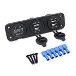 12-24V Universal Automobile Motorcycle Console Dual USB+ Dual USB+Voltage Car Charger