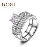 Silver Zircon Wedding Promise Ring for Lady