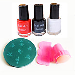 Nail Art Stamper / Scraper & 10PCS Random Image Stamp Stamping Template & 3PCS Nail Art Polish(10ml,Red/Black/White)