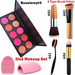 3in1 Makeup Set(10 Colors Blush Blusher Powder Makeup Cosmetic Palette Showy Color+1 Blush Brush+1 Brush Egg)