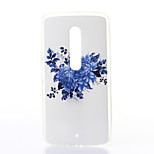 Blue Chrysanthemum Pattern TPU Soft Case for Motorola MOTOX Play