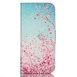 Finger Cherry Blossoms Painted PU Phone Case for iphone5SE