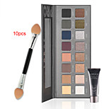Pro Cosmetics Makeup Set(16 Colors Luminous Eye Shadow Palette+1PCS Eye Primer Base+  10PCS Eye Shadow Brush)