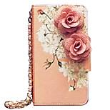 flores de color rosa de lujo de la caja del teléfono móvil del cuero del patrón para el iPhone 6 más / 6s plus