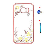 Electroplate TPU Case for Galaxy Note 5/Note 4/Note 3 Floral Bling Diamond Cover+Stylus Anti-dust Plug