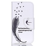 Patterned Leather Wallet Case for iPod Touch 5/6 with Stand - Feather and Quote