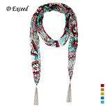 D Exceed Fashion Ethnic Style Print Chiffon Scarf Necklaces Jewelry Scarves For Women's Tassel Shawls and Hijabs