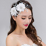 Women's Silver Lace Crystal Pearl Headband Forehead Hair Jewelry for Wedding Party