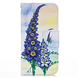 Purple Flower PU leather with Stand Case for iPhone5S/SE 4.0