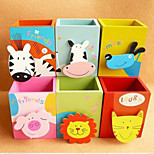1PC Creative Stationery  Lovely Animal  Painted Wooden Brush Pot  Attach Clamp(		Style random)