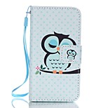PU Wallet Leather Stand Case with Lanyard and Card Slots for iPhone SE / 5 / 5S - Sleeping Owl Pattern