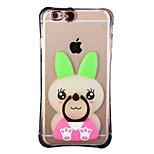 glow in the dark groene oren konijn met hand ring en band pc achterkant van de behuizing voor iphone6 / 6s