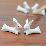 2 pcs Chopsticks Holder Ceramic Porcelain Cute Rabbit