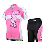 CHEJI Cycling Jersey Short Set Pink Short Sleeve Bicycle Clothing Children Suit