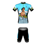 MYKING Men's Cycling Bike Short Sleeve Clothing Set Bicycle Wear Suit Jersey and Shorts Wild Horse World