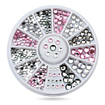 1wheel Pink Grey Rhinestones 3d Nail Art Decorations