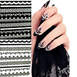 6PCS Black Lace Edge Nail Stickers