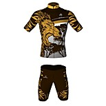 MYKING Men's Cycling Bike Short Sleeve Clothing Set Bicycle Wear Suit Jersey and Shorts Crazy Lion