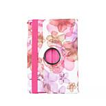 360 degrés cas de couverture belle fleur de pêcher pu flip en cuir pour iPad 2/3/4 (couleurs assorties)