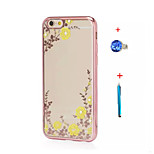 Electroplate TPU Case for iPhone 5/5S/SE Floral Bling Diamond Cover+Stylus Anti-dust Plug