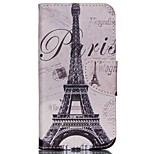 Cross Pattern Leather Phone Case for Wiko Rainbow Up - Paris Eiffel Tower